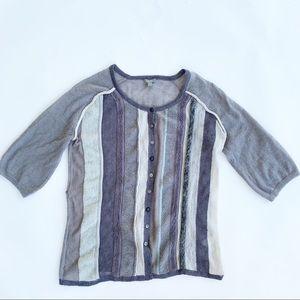 J. Jill Mohair Wool Blend Textured Stripe Sweater